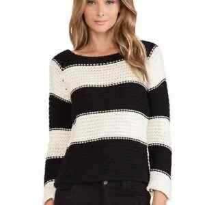 Sanctuary black and cream striped chunky knit sweater